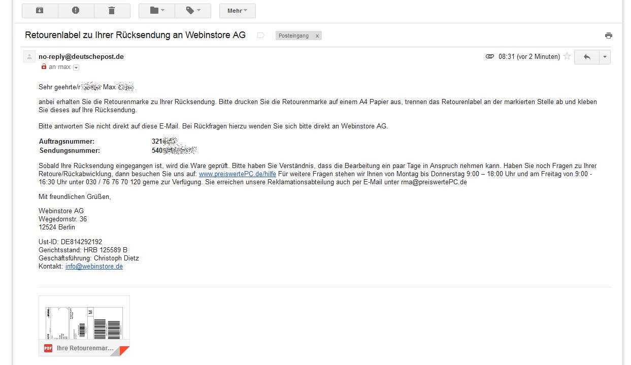 Email prüfen, PDF im Anhang