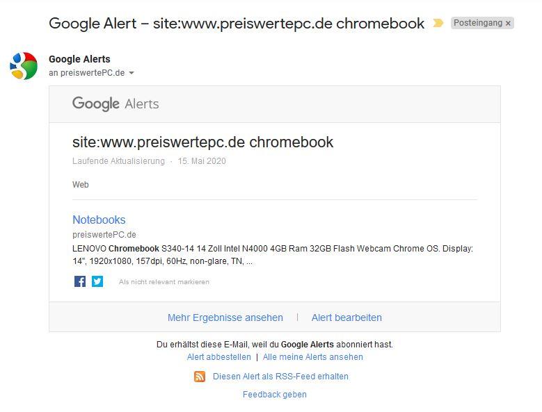 Google Alert Benachrichtigungsmail