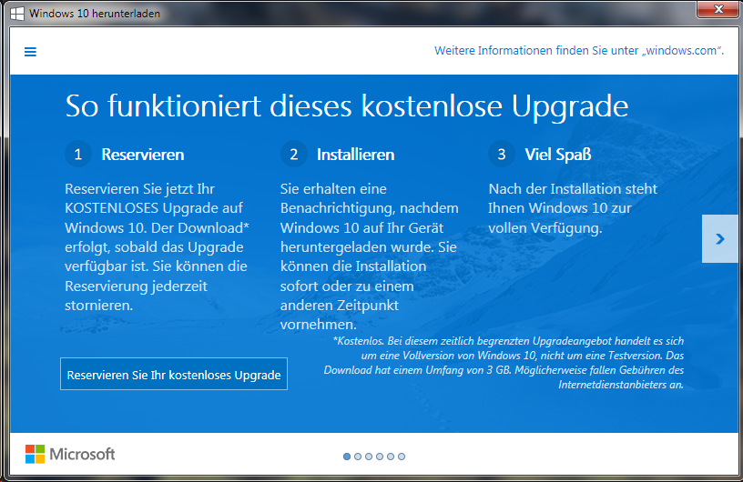 Windows 10 Reservierung